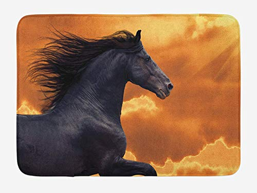 Horses Bath Mat, Portrait of Galloping Friesian Horse with Hot Sun Rays Intensity Honor Grace Theme, Plush Bathroom Decor Mat with Non Slip Backing, 15.7X23.6 inch, Black Orange