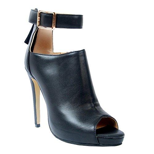 Kolnoo Damen Handgefertigte Gürtelschnalle Ankle Strap Peep-Toe High Heel Partykleid Pumps Sommer Schuhe Black EU37 (Toe Peep Ankle Strap)