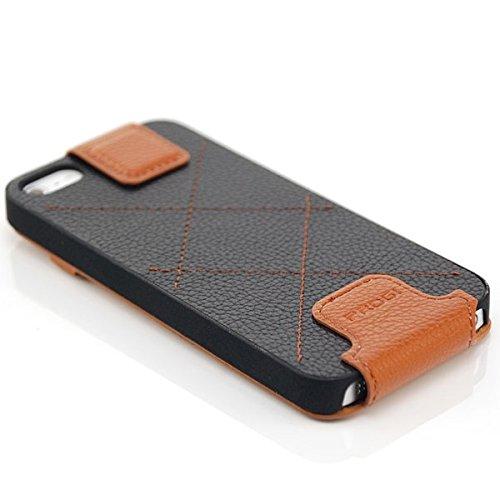 Saxonia Apple iPhone SE 5 5S Coque Flip Cover Etui Housse Protection à Rabat Vertical Fermeture magnétique Blanc Noir-Brun
