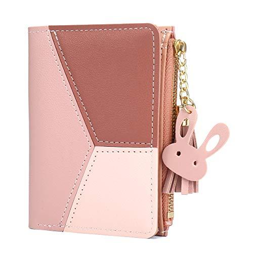 Joseko portafoglio donna,piccolo portafoglio multi-slot in pelle pu con frange a forma di cuore con pochette a doppio strato rosa
