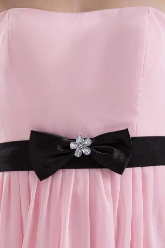 GEORGE BRIDE Suessen und Reizende rosa Abendkleid mit schwarzer Schaerpe Rosa