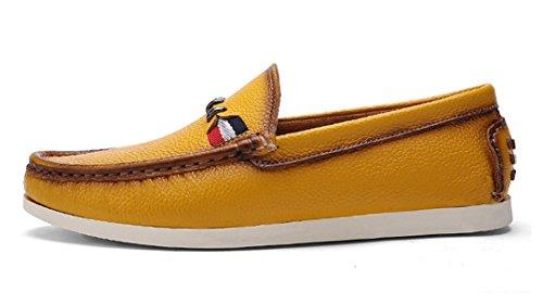 TDA ,  Herren Durchgängies Plateau Sandalen mit Keilabsatz Gelb