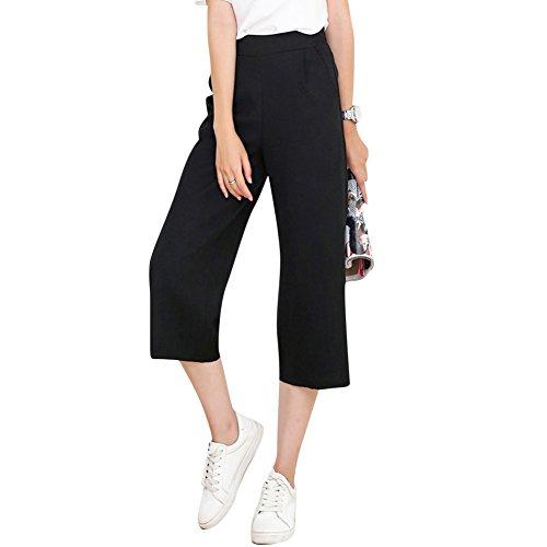 Damen Mädchen Frauen Beiläufig Elegante Stilvoll Mittlere Taille Weites Bein Hosenrock Hosen Hose Hosenrock Gekürzte Hose Schwarz S