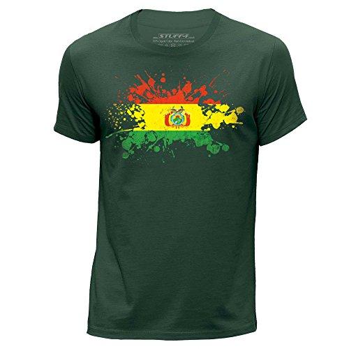 STUFF4 Herren/groß (L)/Dunkelgrün/Rundhals T-Shirt/Bolivien Flagge Splat