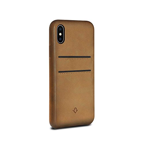 Twelve South Relaxed Leather Hülle (Handgefertigtes Lederklip mit Fächern, geeignet für iPhone X) cognac Burnished Cognac