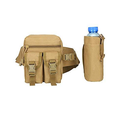 Army Hüfttasche Military Fanny Pack Bauchtasche mit Tactical Wasser Flasche Tasche MOLLE Inhaber fucnen Outdoor Wasserdicht Trekking Wandern Gürteltasche Camouflage