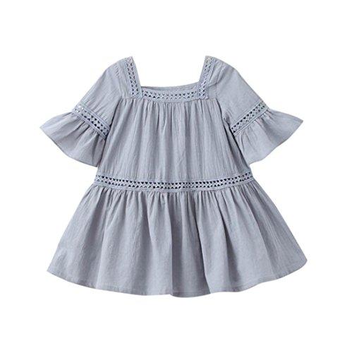 HARRYSTORE Kleinkind Kind Mädchen Höhlen Heraus Art Baby Prinzessin Kleidung Aufflackern Hülsen Kleid (6/7T, Grau)