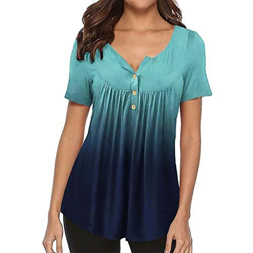 Damen Button Down Shirts MEIbax Damen Farbverlauf Bluse Kurzarm Sommer Tops Damen Oberteile SommerV-Ausschnitt Elegant Blumen Hemd