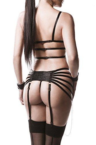 Schwarzer Damen Ketten Strapsset mit tiefem Ausschnitt BH Oberteil und String gekreuzte Bänder mit Strapsgürtel Handschellen XL-XXL - 2