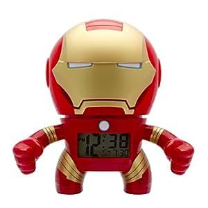 Réveil lumineux Iron Man Marvel BulbBotz pour enfant | rouge/or | plastique | hauteur de 19 cm | écran LCD | garçon/fille | produit officiel