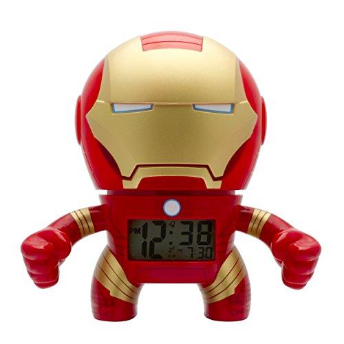BulbBotz Despertador con luz Infantil figurita de Iron Man de Marvel | Rojo/Dorado plástico | 19 cm de Altura | Pantalla LCD | Chico Chica | Oficial