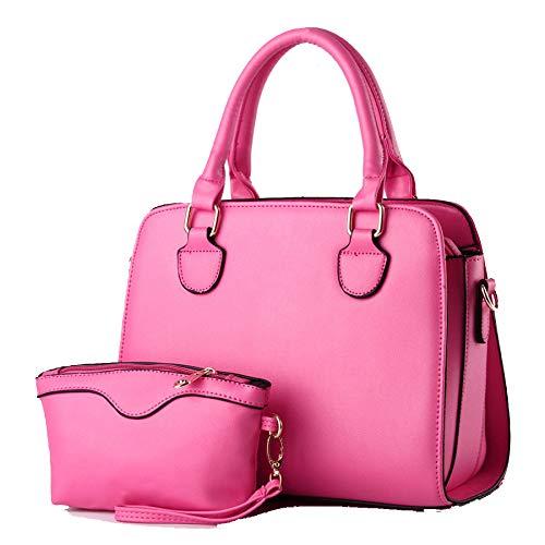 Damen Designer Handtaschen Aus Leder Damen Tote Schulter Vintage Taschen Zweiteiliges Set,Pink-OneSize