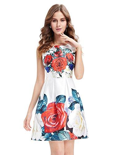 Alisapan Damen Blumenprint Rundhals Kurz Casual Kleid 05410 Weiß