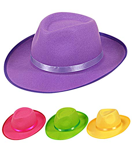 Party-Package Gangster Hut Neon Filz – 4 Farben Filz Hut Fasching