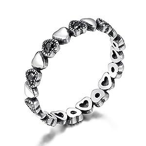 Shysnow Herz Ring Silber 925 Schwarz Ring Unendlichkeit Geschenk für Damen und Mädchen