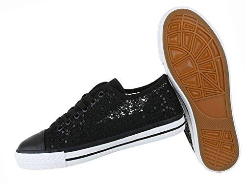 Damen Schuhe Freizeitschuhe Sneakers Turnschuhe Schnürer Schwarz Schwarz
