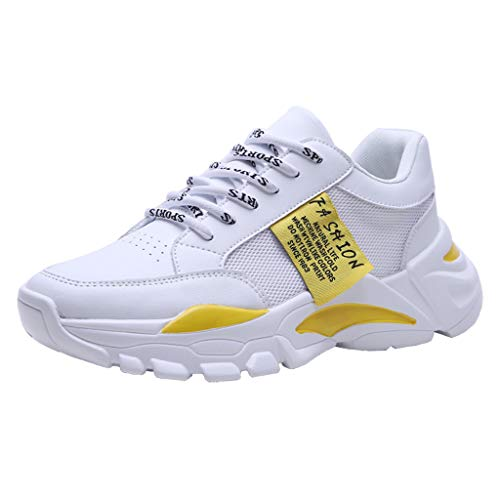 CUTUDE Herren Sneaker Deodorant rutschfest Weicher Boden Schuhe Turnschuhe Männer Laufschuhe Reisen Freizeitschuhe Leicht Bequem Sportschuhe Wanderschuhe (Gelb, 42 EU)
