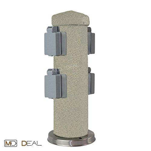 1er Set 4-fach Gartensteckdose Steinoptik rund Außensteckdose Steckdose Verteiler IP44 300mm