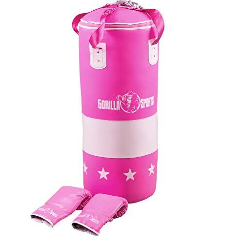 GORILLA SPORTS® Boxsack-Set Kunstleder Pink - Boxhandschuhe, Sandsack 16 kg gefüllt zur Aufhängung und Karabiner