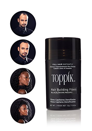 Toppik Hair building Fibers, Applicatore spray con fibre di cheratina naturali, Nero, 12 gr