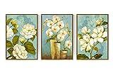 ZDDT Dipinto ad Olio Dipinto a Mano Pittura Decorativa Quadro Artistico Quadro trittico Floreale Appartamento Arte Divano Sfondo Soggiorno