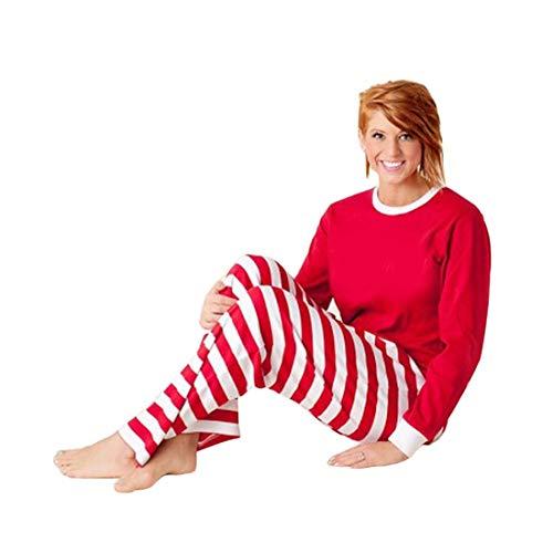 SeniorMar Weihnachten Pyjamas Herbst Winter Mutter Vater Tochter Sohn Pyjamas Rot & Weiß Streifen Familie Kleidung Set Freizeitkleidung Anzug