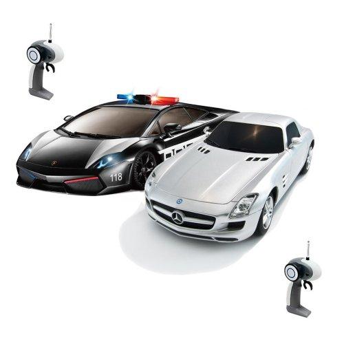 Lamborghini Gallardo Police vs. Mercedes-Benz SLS AMG - 2x RC ferngesteuertes Auto, Polizeiauto, 1:28 Maßstab, Rennen, Ready-to-Drive, Inkl. Fernsteuerung und Batterien, Neu