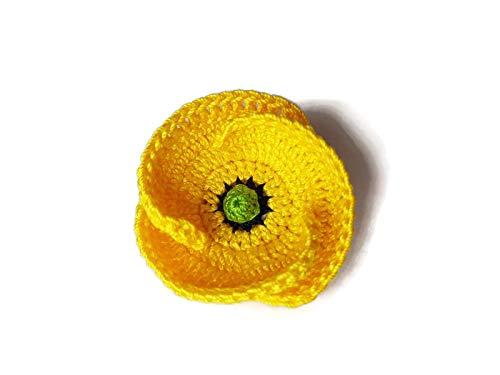 Broche de amapola flor amarilla crochet unisex hecha a mano joyas