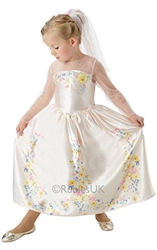 Mädchen Offiziell Disney Cinderella Hochzeit Braut Prinzessin Buch Tag Kostüm Verkleidung Outfit - Creme, 122-128