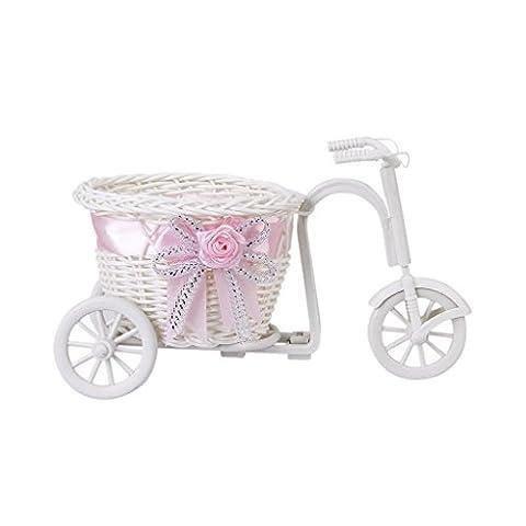 Sonline handgefertigte Rattan Blumen Dreirad Fahrrad Korb fuer Blumen Vase und Lagerung Dekoration Geschenk Weiss Rosa
