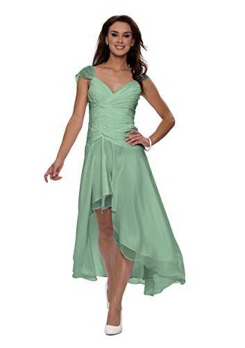 Astrapahl Damen Cocktail Kleid mit schönen Raffungen, Knielang, Einfarbig, Gr. 36, Grün (Seegrün)