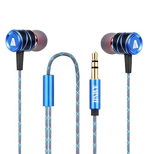 AMNIE Ohrhörer Kopfhörer - High Definition, In-Ear, kein Kabelsalat, Geräuschisolation, TIEFER STARKER Bass für iPhone, iPod, iPad, MP3-Player, Samsung Galaxy, Nokia, HTC, Nexus (Blau Grau)