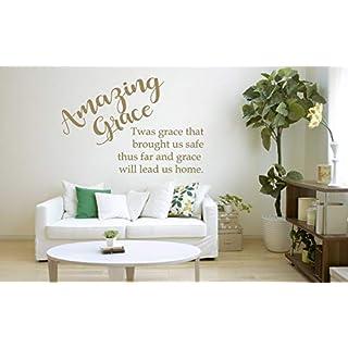 Amazing Grace Christian Hymn, Lied Zitat, Vinyl Wandkunst Aufkleber. Wandbild, Aufkleber. Haus, Wand, Kirche, Schule Dekor.
