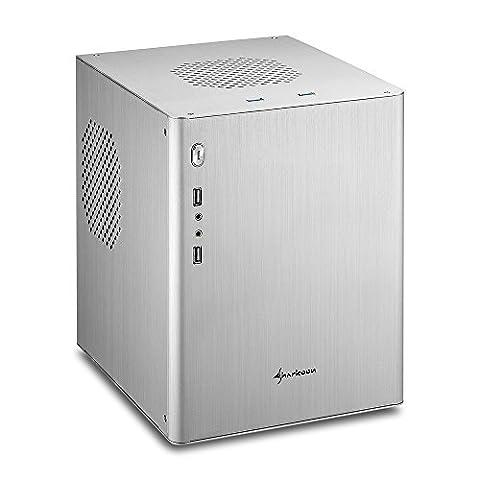 Sharkoon CA-M Mini-Tower Aluminium PC-Gehäuse / Cube (Micro-ATX, 2x USB 3.0, 2x USB 2.0) silber (Minitower Pc)