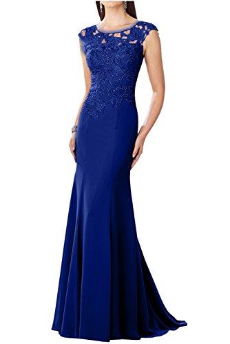 Topkleider Damen Glamour Blau Spitze Rund Meerjungfrau Abendkleider Chiffon Mutterkleider...