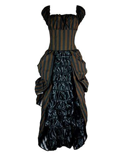 Kostüm Tesla - Horror-Shop Gestreiftes Steampunk Kleid Tesla für viktorianische Outfits M/L