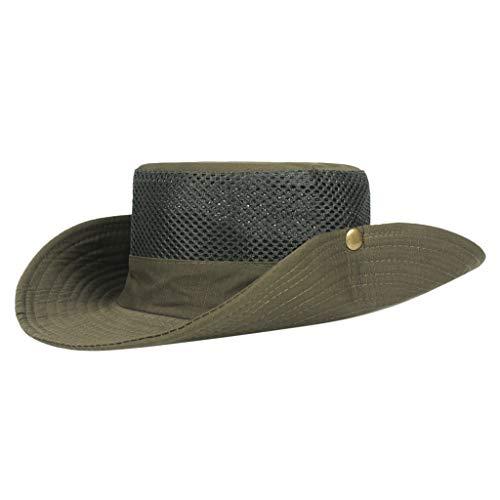 Fenverk Unisex Safari Outback Australischer Buschhut mit breiter Krempe, seitlichen Druckknöpfen und Lüftungsschlitzen, aus Baumwolle(Armeegrün)