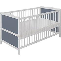 Cuna bebé de madera de pino convertible en la cama infantil 140cm x 70 cm color blanco-gris SIMPLE