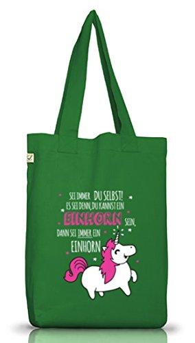 Unicorn Jutebeutel Stoffbeutel Earth Positive mit Sei immer ein Einhorn Motiv Moss Green
