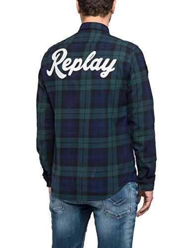 Replay Herren Freizeithemd Mehrfarbig (Blue/Green Check 10)