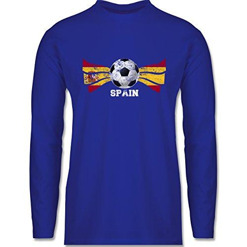 EM 2016 - Frankreich - Spain Fußball Vintage - Longsleeve / langärmeliges T-Shirt für Herren Royalblau