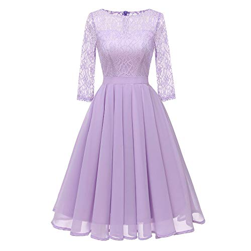 MIRRAY Damen Vintage Prinzessin Blumenspitze Chiffon Cocktail O-Ausschnitt Party Aline Swing Kleid