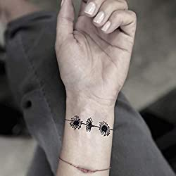 Cadena de margaritas etiqueta engomada falso temporal del tatuaje (Juego de 2) - TOODTATTOO.COM