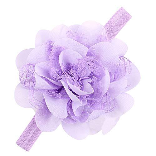 12 Farben Baby Stirnband Kinder Mädchen Chiffon Blume Elastisches Stirnband Haarband Baby Mädchen Zubehör Headwear für Kleinkinder (Helles Lila,Einheitsgröße)