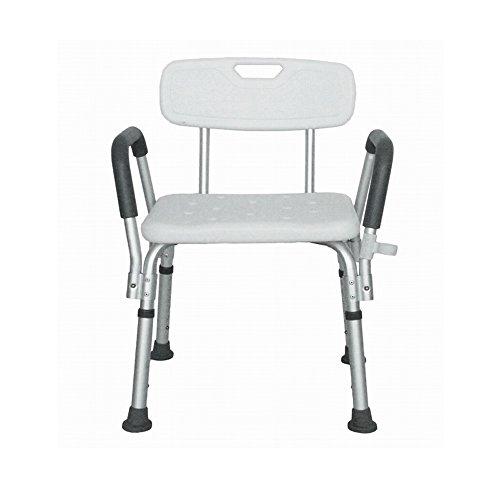 MCTECH ® Rechteckig Duschhocker Duschstuhl Badehocker Höhenverstellbar Badhocker Duschhilfe mit Armlehne und Rückenlehne Höhenverstellbar für Alter, Schwangere aus