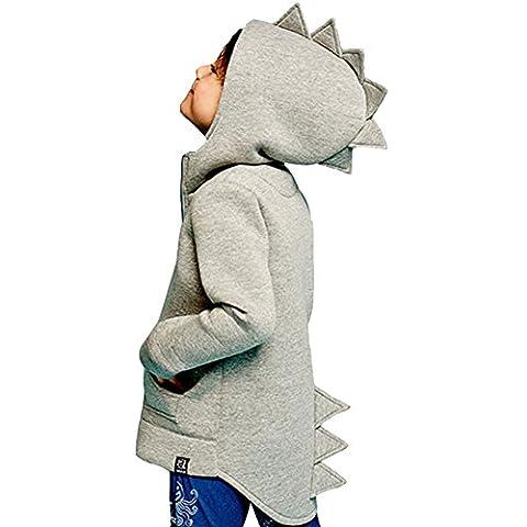 ULA-ULA Bébé Enfant Veste de survêtement Dinosaur Manteau (1-2 ans, gris)