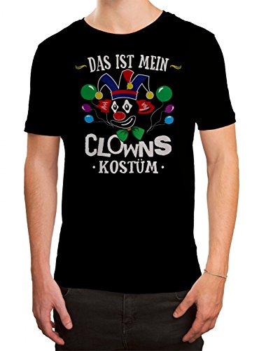 (Kostüm Clown Premium T-Shirt Verkleidung Karneval Fasching Herren Shirt, Farbe:Schwarz (Deep Black L190);Größe:XXL)