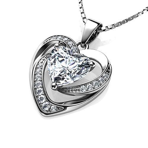DEPHINI - weiße Herz-Halskette - 925 Sterling Silber - Marken-Zirkonia-Kristall-Anhänger Geburtsstein - Fine Jewellery Love - 45,7 cm Premium rhodinierte Silberkette - Zirkonia - Geschenke für Frauen