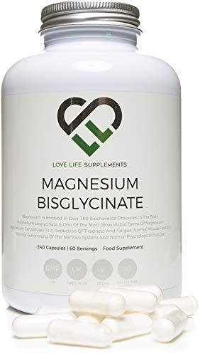 LLS Magnesium Bisglycinate (Chelated) | 2500mg (250 mg Magnesium) | 240 Kapseln / 60 Portionen | Hoch bioverfügbare Form von Magnesium | In der UK unter GMP Lizenz hergestellt