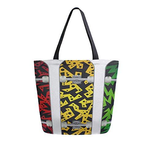 Skateboard Doodle Symbol Spaß Tragbare Große Doppelseitige Casual Canvas Tragetaschen Handtasche Schulter Wiederverwendbare Einkaufstaschen Reisetasche Für Frauen Männer Lebensmittelgeschäft Reise -